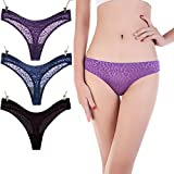 Women Cotton Breathable Tangas Briefs Sexy Figured Ladies Bikini Panties Underwear 3 Packs (XL /US L, Black Blue Purple)