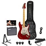 Sawtooth ST-ES-SPIDER-KIT3-CAR ES Electric Guitar Rockin' Beginner's Pack with White Pickguard, Apple Red