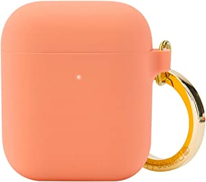 DamonLight Premium Silicone Airpods Case with Carabiner [Extra Thin][Front LED Visible][with no Hinge] Full Protective Cover Skin Compatible with Apple Airpods 1&2(Pink)