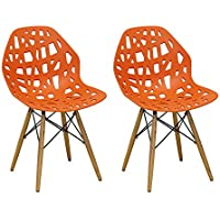 Ergo Furnishings Puzzle Hollow Out Molded Plastic Dining Chair Side Wood Legs Set of 2, Orange