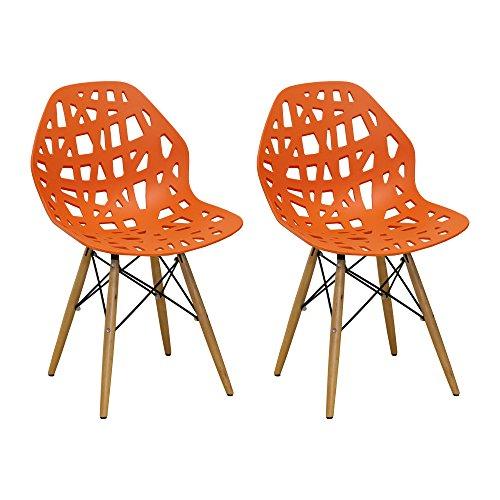 Mod Made Modern Stencil Cut Out Eiffel Dining Side Chair (Set of 2), Orange