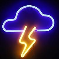 XIYUNTE Letrero de neón con nubes y rayos, para decoración de pared, con batería o USB, funciona con nube y rayo azul…