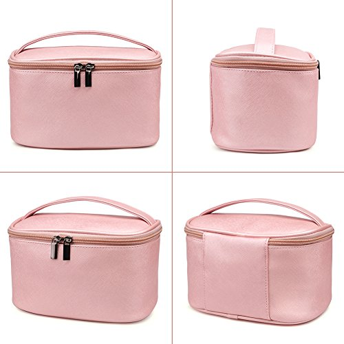 Cosmetic Bag,365park Travel Cosmetics MakeUp Case Organizer Bag with Brush Holder(Z005/Pink) by 365park (Image #2)