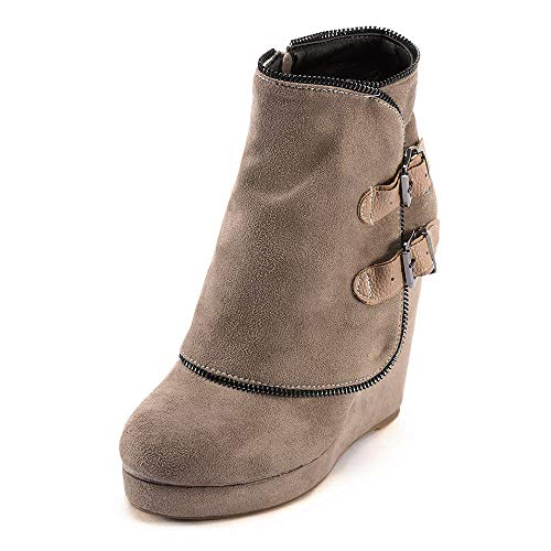 COPPEN Women Boot Martin Retro Non-Slip Increase Thick Heel Round Toe Suede Short