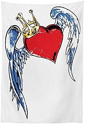 Lunarable Tapiz de Tatuaje, Figura de corazón con alas y Corona ...