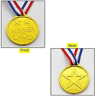 BJ-SHOP Medallas Niños,Medallas Deportivas Premios plásticos de Oro para los niños Fiesta Deportiva del día Recompensa temática olímpica: Juguetes y juegos