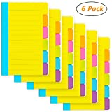 6 Pack Divider Sticky Notes, Total 360 Ruled Lined Notes,School & Office Supplies,Sticky Journals Page Tabs,4 x 6 inches,Assorted Neon Colors