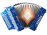 Fever F3112-BL Button Accordion with 31 Keys and 12 Bass on GCF Key, Blue