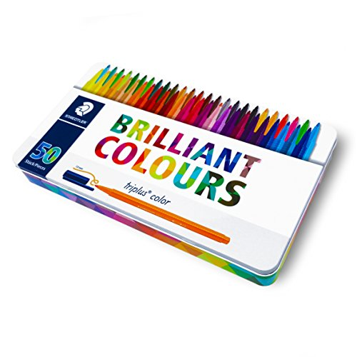 Staedtler Triplus Color Pens - Metal Gift Tin of 50 Brilliant Colours - 1.0mm by Staedtler (Image #1)