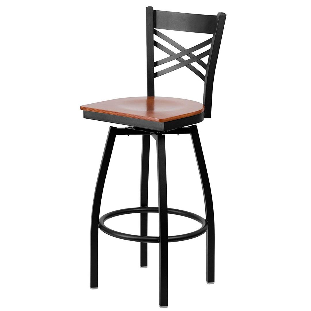 Modern Style Metal Dining Bar Stools Cross-Back Design 360-Degree Swivel Seat Lounge Diner Restaurant Commercial Black Powder Coated Frame Finish Home Office Furniture - (1) Cherry Wood Seat #2199
