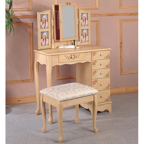 Coaster Queen Anne Style Vanity Table and Stool/Bench Set, Hand Painted - Hand Painted Vanity Set