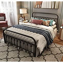 Bedroom Metal Bed Frame Queen Size with Vintage Headboard and Footboard Platform Base Wrought Iron Bed Frame (Queen,Black) farmhouse beds and bed frames