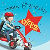 Twizler 6th Birthday Card For Boy With Cool Go Kart Cut Out Star