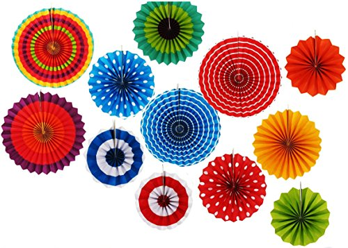 12 Paper Fan Set Mexican Fiesta/Patriotic/Wedding/Birthday/Baby Shower Party Supplies Decoration Rosettes Various Sizes