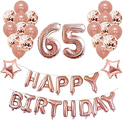 Toupons Balloons Party Decorations Set Birthday Rose Gold 65th 40Pcs Happy Banner Star Heart Foil Balloon Confetti Latex