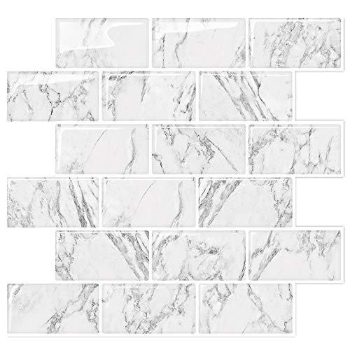 Marble Look Peel and Stick Backsplash Subway Tiles, Stick on Wall Tile for Kitchen&Shower Backsplash (Pack of 5, Thicker Design)