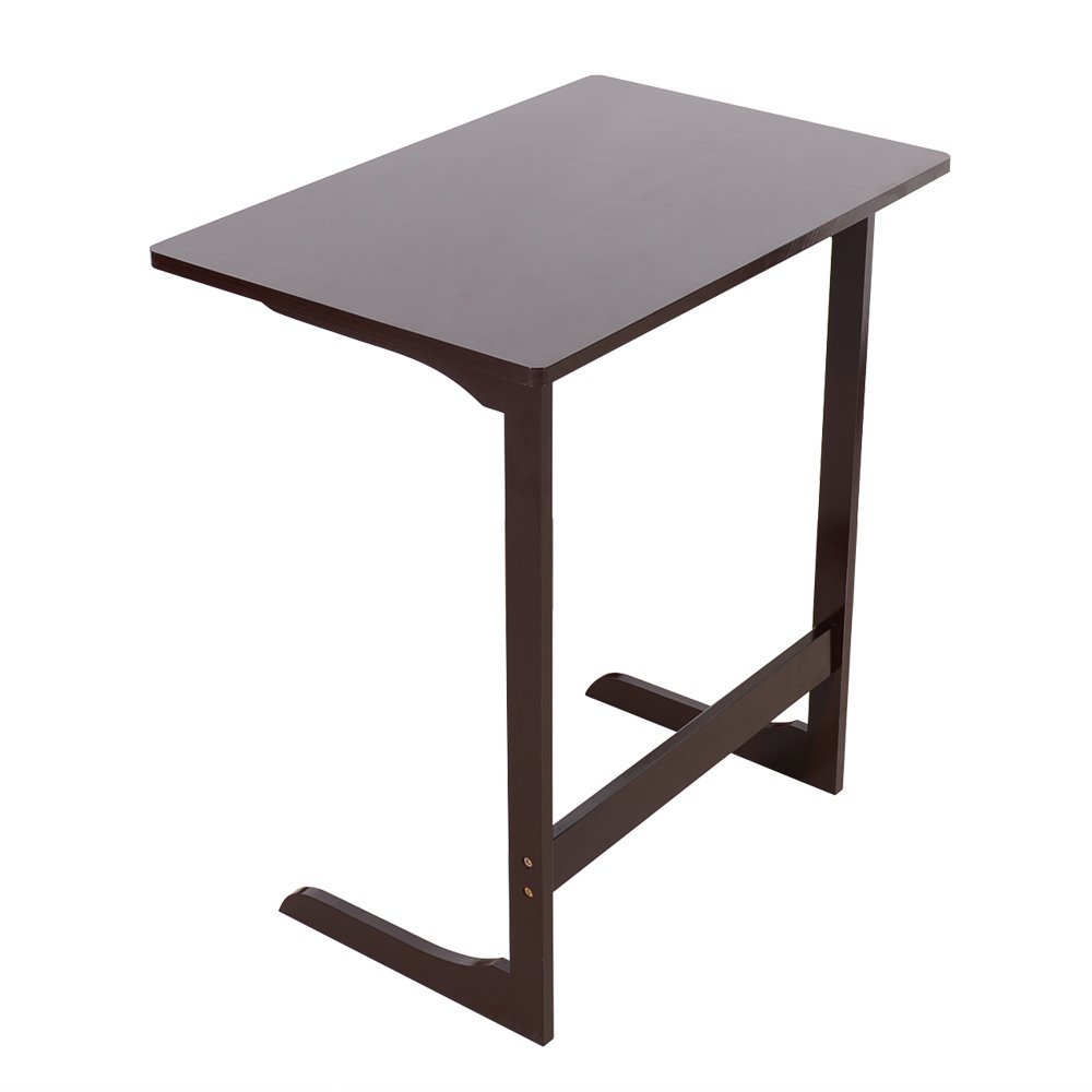 Azadx Sofa Table, L-shaped Portable Bamboo Snack Table Sofa Couch Coffee End Table Bed Side Table Laptop Desk Modern Furniture for Home Office (L Type Coffee)
