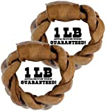 Balls 'n Bones BIG DOG ONE-POUND Beef Braided Rawhide Rings for Large Dogs, Safety-Sealed, Twin Pack For Sale