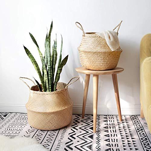 (Mkono 2 Pcs Seagrass Plant Basket Indoor Planter Decorative Flower Pot Cover Up to 10 Inch Pot, M&L)