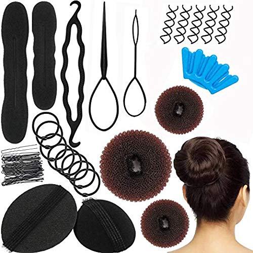(AUGSHY 47 Pcs Brown Magic Donut Hair Bun Maker Kit)