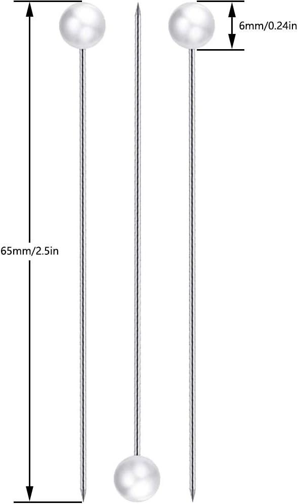 FYSL 100 Pezzi Spilli di Perle Perni di Corpetto Spilli di Testa Cristallo Perni Dritti per Decorazioni di Nozze Cucito Artigianale
