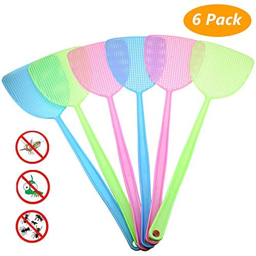 Homga Fly Swatter, Manual Plastic Swat Pest Control with 17.5 Long Durable Handle Assorted Colors Pack of 6 (2)