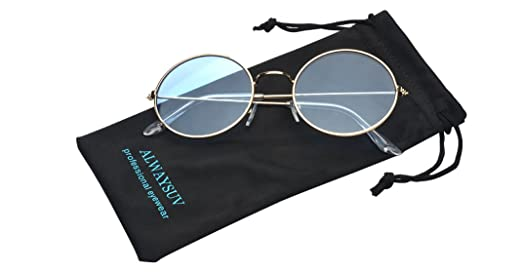 49cdbeb742 Amazon.com  ALWAYSUV Round Small Flat Sunglasses Circle Vintage John Lennon  Glasses Blue  Clothing