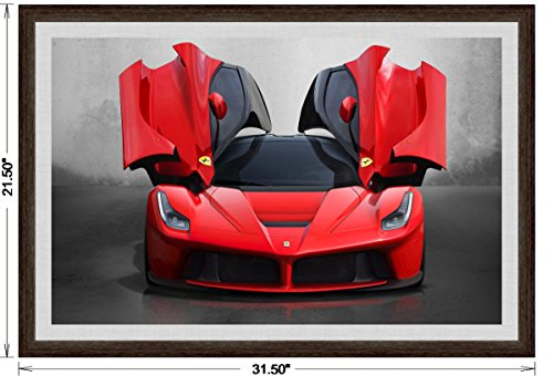 Front Ferrari Wing - Ferrari LaFerrari (2013) Framed Car Art Poster Print Red Front Open Wing Static View in Dark Walnut Frame, 1