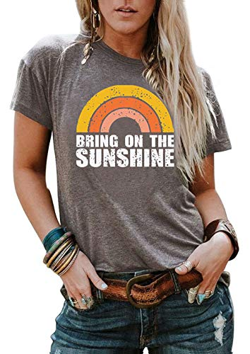Bring On The Sunshine Women Short Sleeve Rainbow Graphic Tees Funny T-Shirts Size S (Gray)