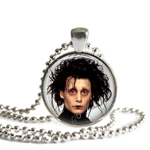 Edward Scissorhands 1 inch Silver Plated Picture Pendant 24 inch Necklace