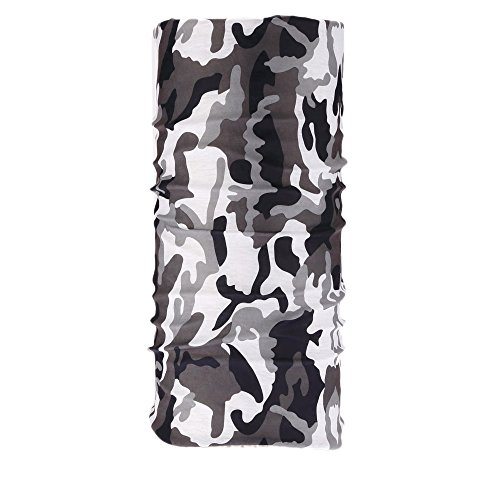 Kalily Versatile 16-in-1 Lightweight Sports & Casual Camo Headwear Headband Bandana Neck Gaiter, Balaclava, Helmet Liner, Face Mask for Outdoor Hunting, Fishing, Paintball Party (Black & White Camo)