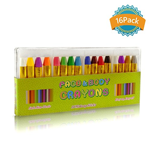 GiBot Face Paint Crayons 16 Colors Halloween Face Painting ideas, Face and Body Makeup Tattoo Crayons for Kids, Child & Toddlers, Non-toxic and Safety
