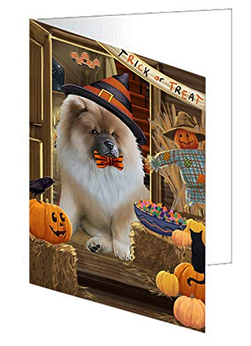 Enter at Own Risk Trick or Treat Halloween Chow Chow Dog Greeting Card GCD63293 (20)]()