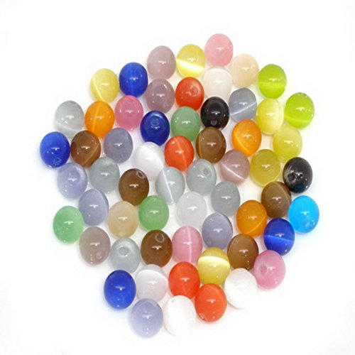 Souarts Random Mixed Colorful Cats Eye Glass Round Spacer Beads (8mm Cats Eyes Glass Beads)