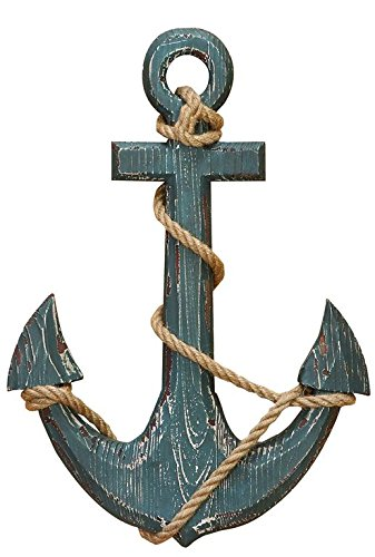 "Benzara 91620 Wood Anchor with Rope Nautical Decor, 18"" H/12 W, Aqua Blue from Benzara"