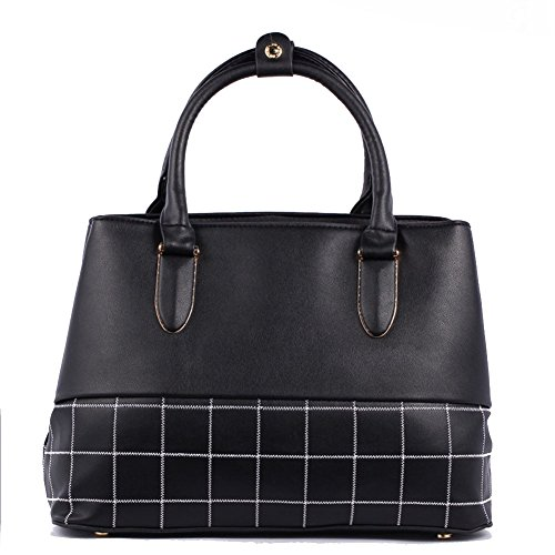 Fczero Hb10093 Pu Leather Handbag For Women Korean Version & Fashion Stripe Geometry Package Black