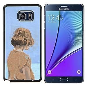 "For Samsung Galaxy Note5 / N920 Case , Acuarela Azul Naranja Chica profundo Sad"" - Diseño Patrón Teléfono Caso Cubierta Case Bumper Duro Protección Case Cover Funda"