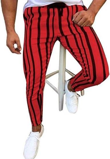 Yuesjx Pantalones Deportivos Para Hombre Diseno De Rayas Verticales Con Cordon Rojo Rosso M Amazon Es Ropa Y Accesorios