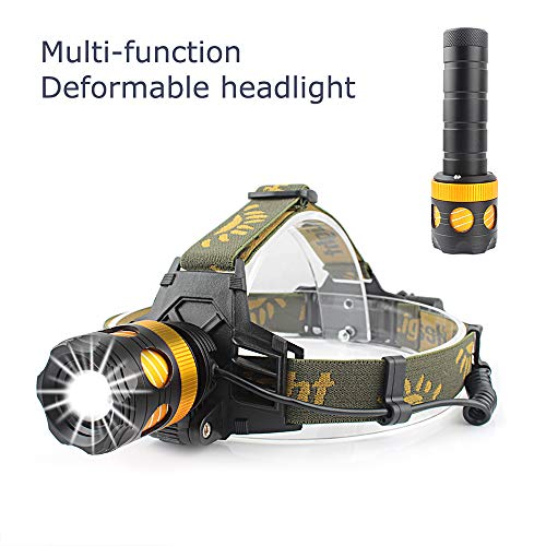 (CiSiRUN Headlamp, LED Work Headlight, USB Rechargeable Waterproof Flashlight Work Light,Head Lights Flashlight for Camping, Hiking, Outdoors with Charger and Rechargeable Battery)