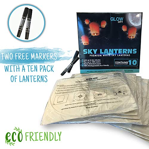 Glow City Chinese Lanterns & Sky Lanterns (Set of 10, White, 2 Free Markers!) - 100% Biodegradable, Environmentally Friendly Lanterns! Beautiful Outdoor ECO Friendly Paper Lanterns for Any Event!