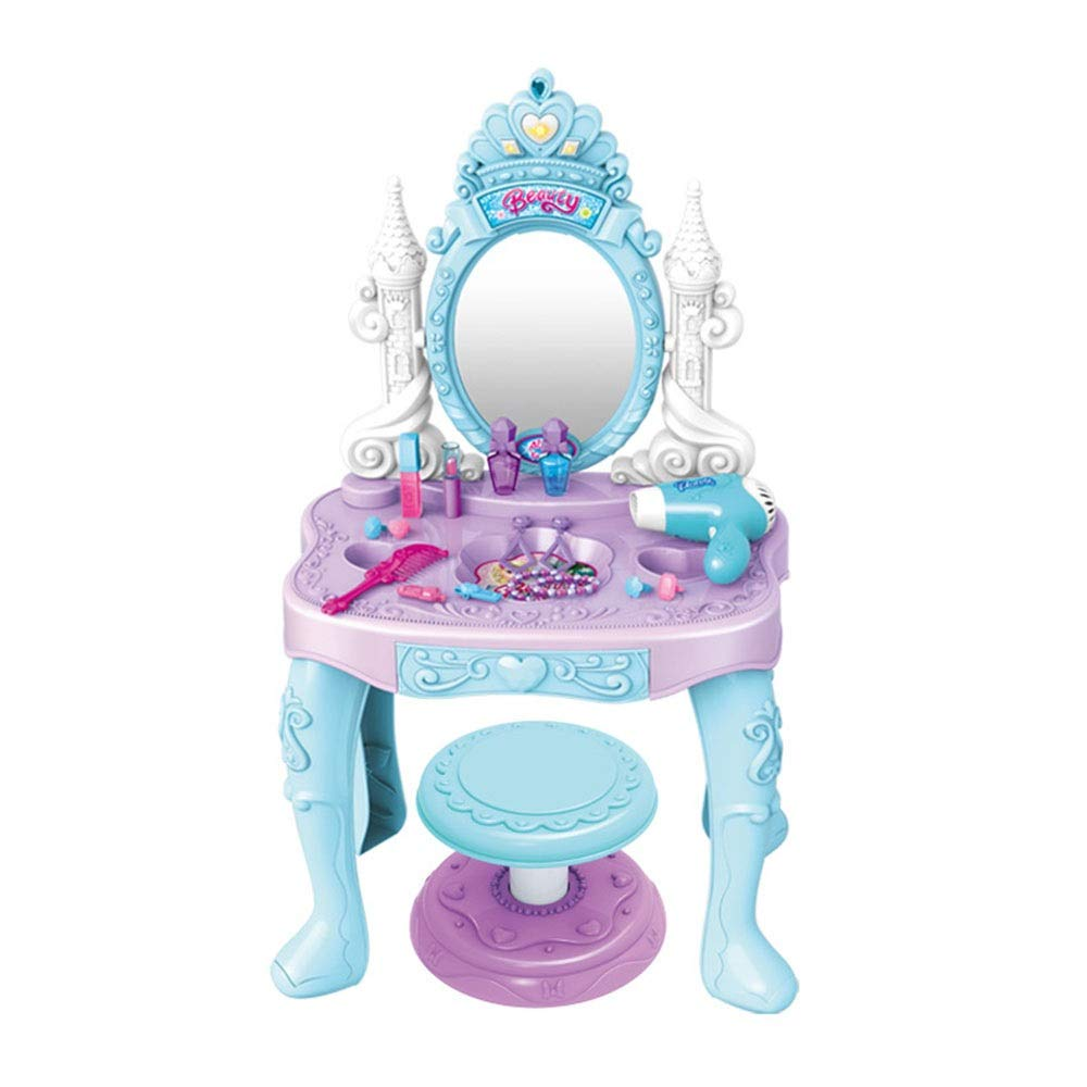 Kindlov-toys Children's Vanity Beauty Dresser Table Play Kids Vanity Table Stool Princess Pretend Play Set with Toy for Kids Girls (Color : Blue, Size : 83.54667.5cm)