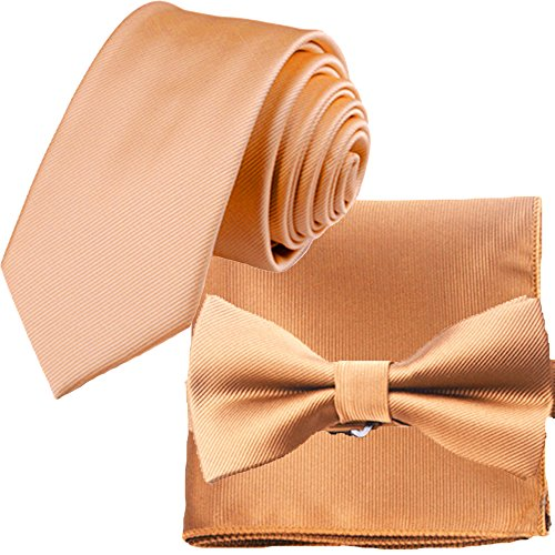 Texture Bow - Flairs New York Gentleman's Essentials Bow Tie and Pocket Square Matching Set (Royal Gold [Stripes Texture])