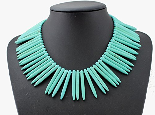 (Hand-Woven Chunky Teal Spiked Collar Choker Necklace Statement Punk Turquoise Jewelry Bib Necklace)
