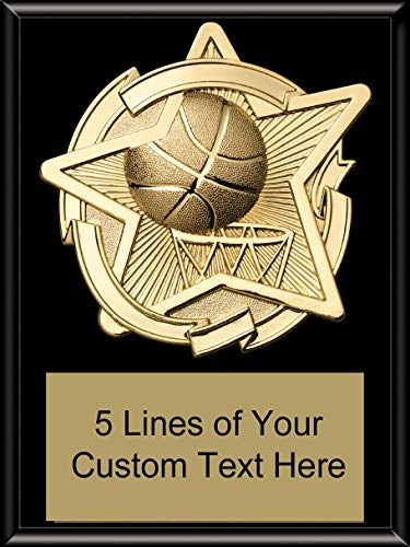 (Express Medals 6 x 8 Black Finish Basketball Star Plaque Trophy Award with Custom Engraved Personalized Text)