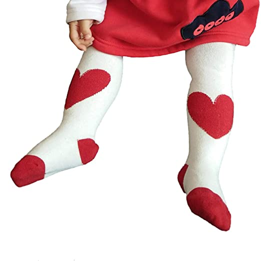 a7edb3d04e392 Amazon.com: Ehdching Lovely White-Red Heart Knit Legging Pant Tights for Newborn  Baby Infant Toddler Girls: Clothing