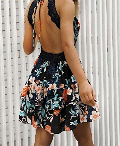 Coolred-femmes Dentelle Printemps Floral Style Bohème Robe Dos Nu Noir Patché
