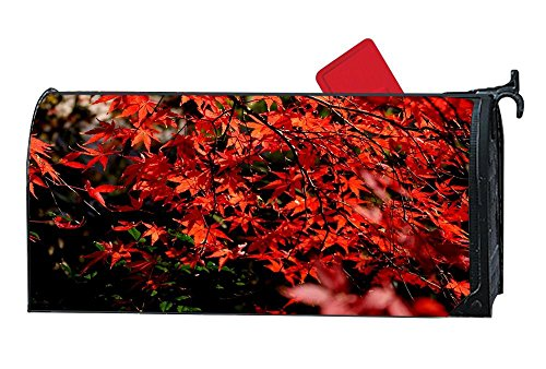 Autumn Leaves Magnets - DIY Magnetic Mailbox Cover Mailwrap, All Weather Vinyl, Standard Size - Full Magnet on Backside - Autumn Red Leaves Branch