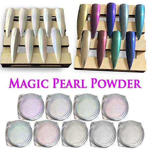 White Nail Powder Super (9 Boxes Chrome Nail Powder - Super Chrome Powder Rainbow Pack, Premium Salon Grade Unicorn Pearl Powder & Metallic Nail Pigment for Mirror Nails, 0.04oz/ 1g Per Box)