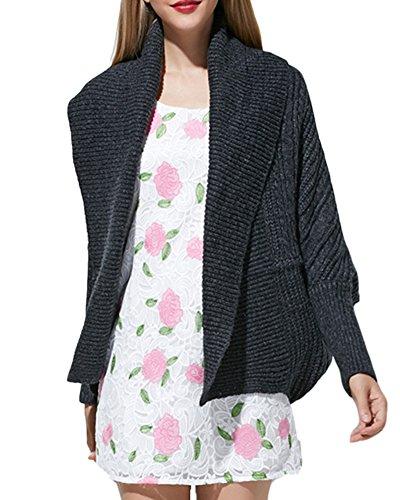 Chaqueta Poncho Jersey Suelto Cardigan Punto Para Mujer Marengo