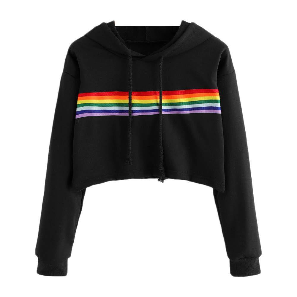 OWMEOT Women's Loose Striped Long Sleeve Crop Top Pullover Sweatshirt Rainbow Colour (Black, S)